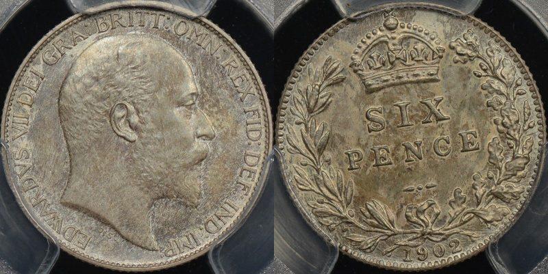 1902 sixpence PR64