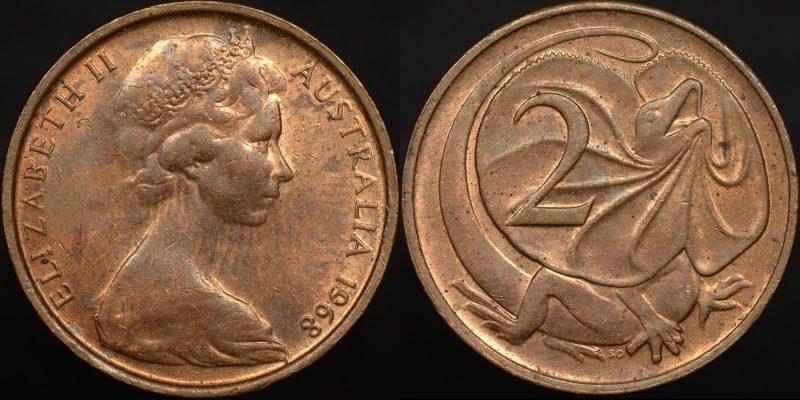 1968 2 cent ef