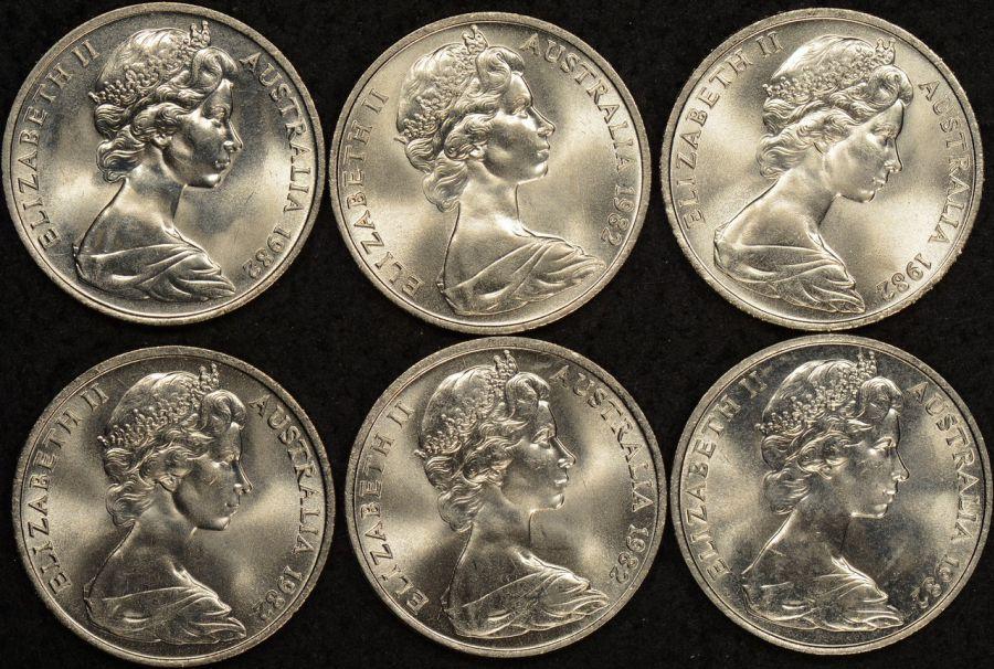 1982 platypus 20 cent Uncirculated ex broken mint roll x 6 coins