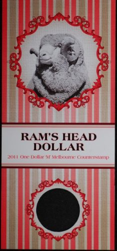 2011 shilling ram one dollar m counterstamp with virgin folder of issue