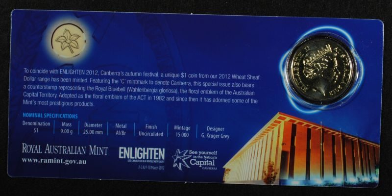 2012 canberra bluebell counterstamp c mintmark wheat sheaf 1 Uncirculated