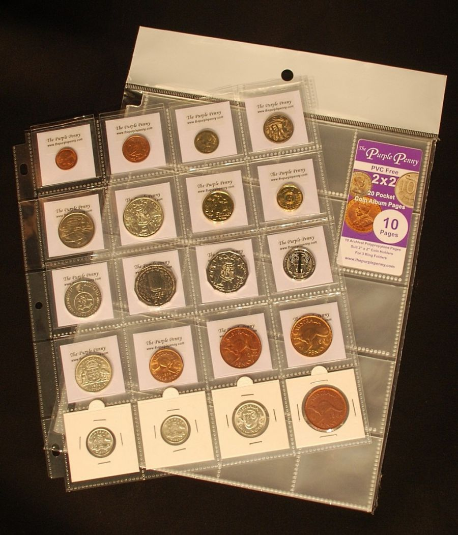 new coin album pages 20 pocket 2×2 size pack of 10 archival pp (pvc free)
