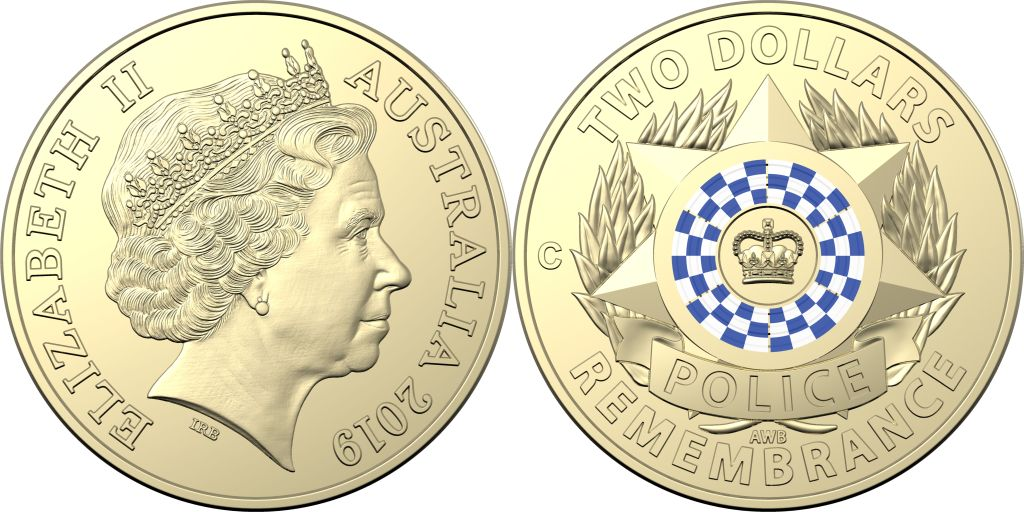 Australia 2019 $2 Police Remembrance Coloured C Mint Mark UNC Coin in Card