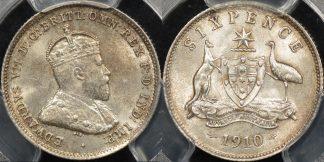 Australia 1910 sixpence 6d Choice Uncirculated PCGS MS64