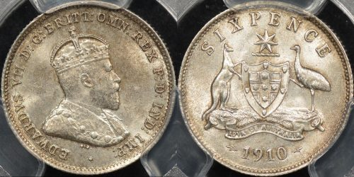 Australia 1910 sixpence 6d Choice Uncirculated PCGS MS64