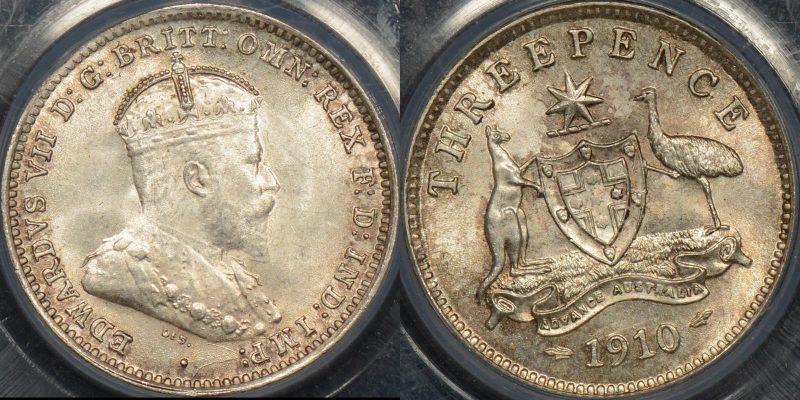Australia 1910 threepence 3d GEM Uncirculated PCGS MS65