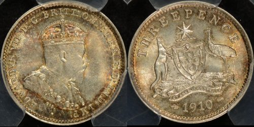 Australia 1910 threepence 3d Uncirculated PCGS MS63