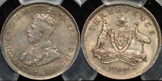 Australia 1911 threepence 3d Choice Uncirculated PCGS MS64