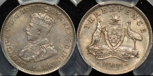 Australia 1911 threepence 3d Choice Uncirculated PCGS MS64