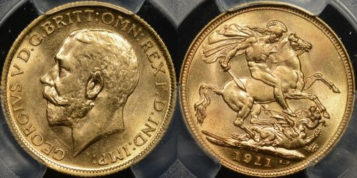 Australia 1911s sovereign PCGS MS61
