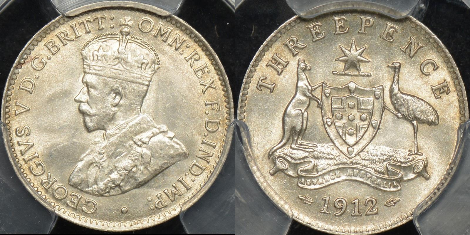 Australia 1912 threepence 3d Choice Uncirculated PCGS MS63