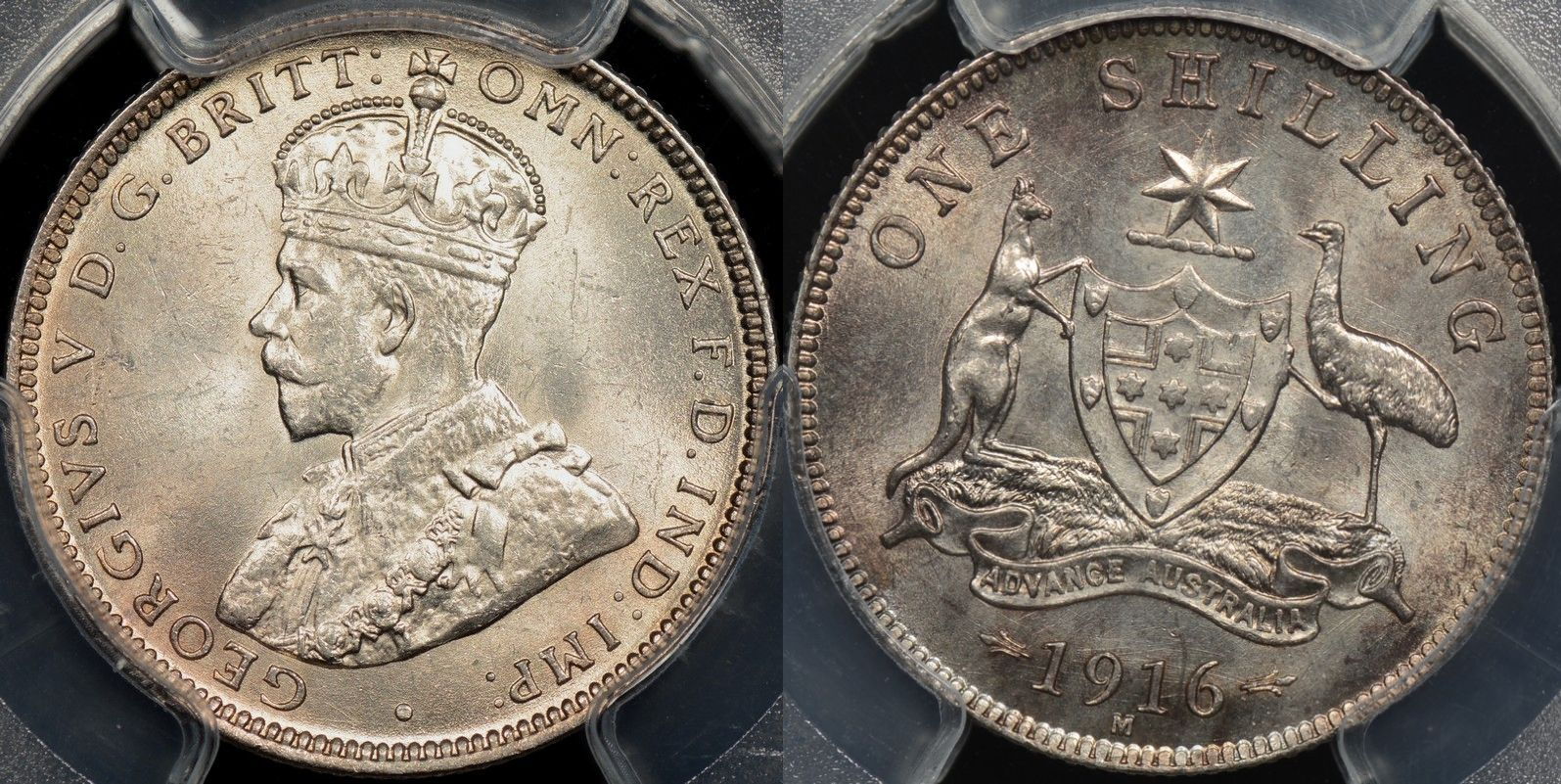Australia 1916 m shilling 1s Choice Uncirculated PCGS MS64