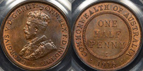 Australia 1916i halfpenny 1 2d UNC Choice Uncirculated PCGS MS63rb