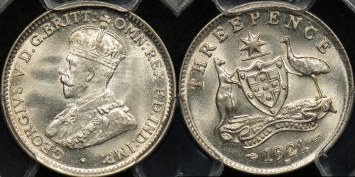 Australia 1921 m threepence 3d GEM Uncirculated PCGS MS65