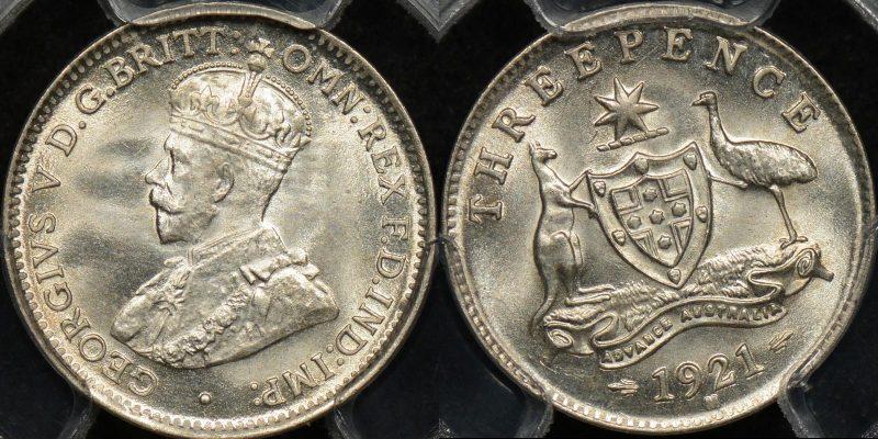 Australia 1921 m threepence 3d GEM Uncirculated PCGS MS65