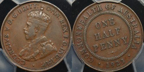 Australia 1923 half penny PCGS vf30