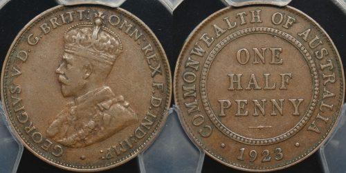 Australia 1923 half penny PCGS vf35