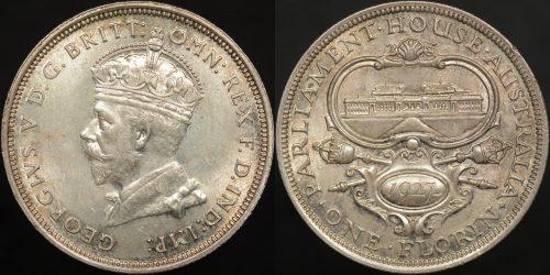 Australia 1927 canberra florin 2s aunc