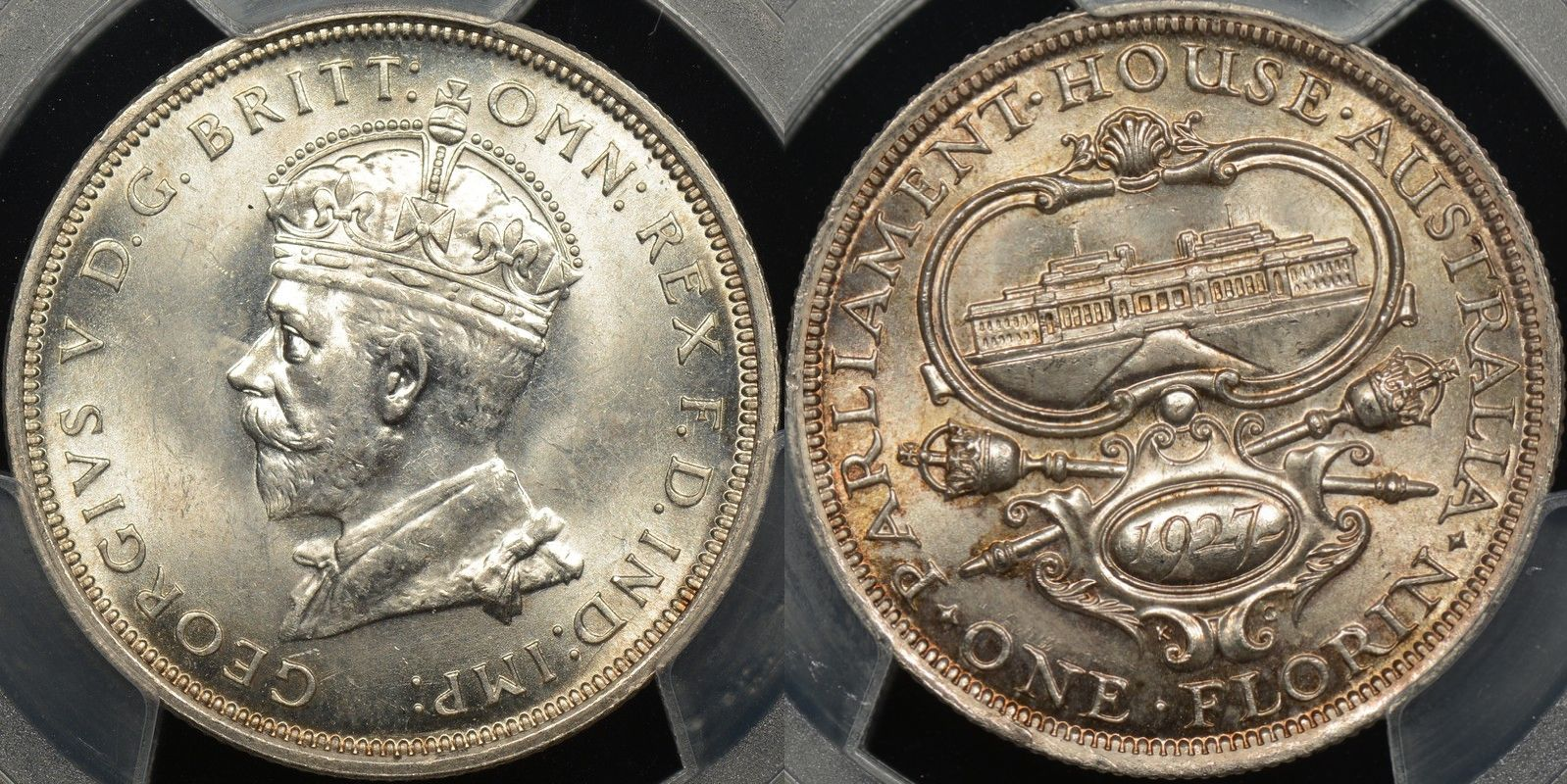 Australia 1927 parliament florin Choice Uncirculated PCGS MS63