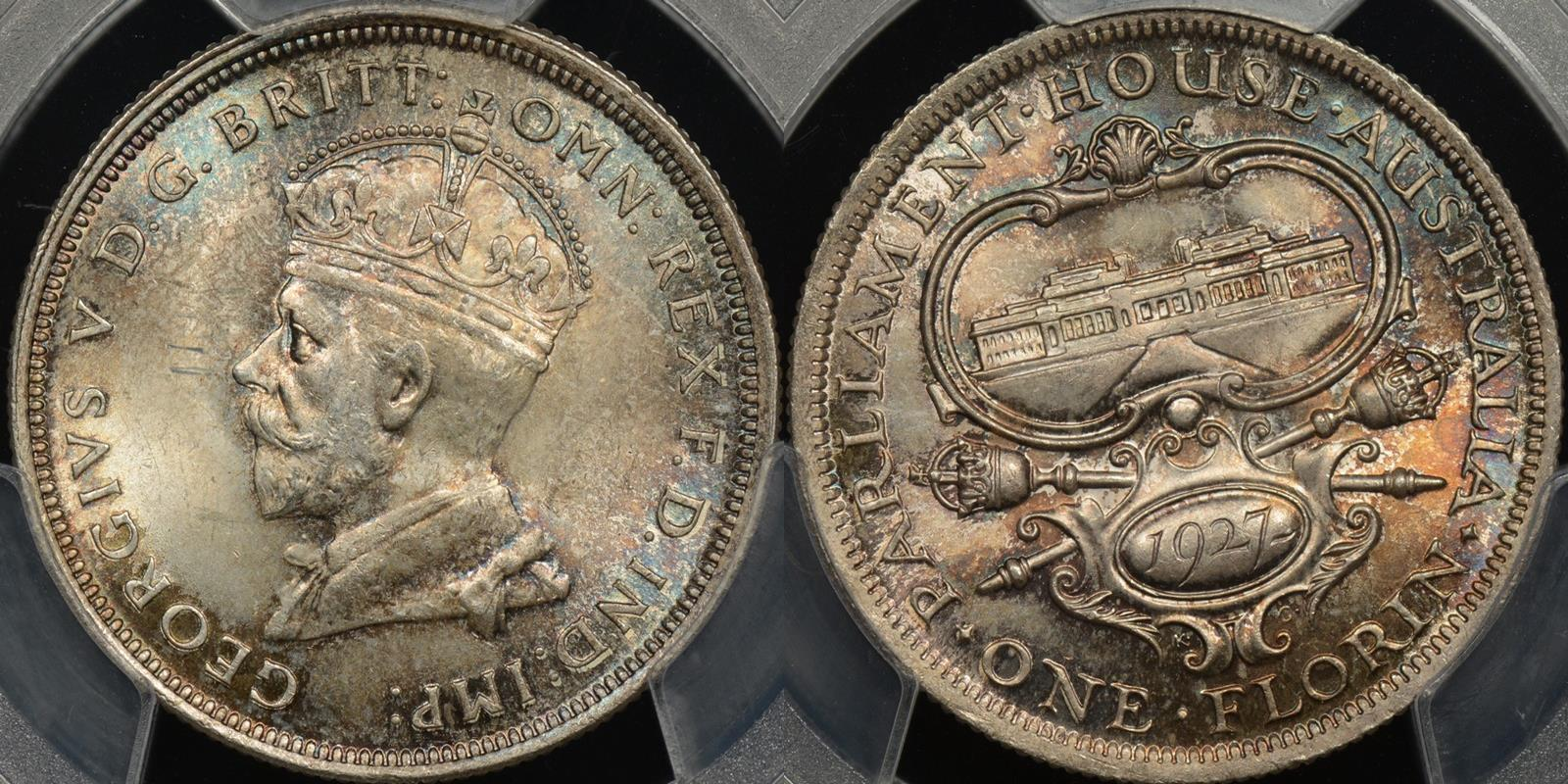 Australia 1927 parliament florin Choice Uncirculated PCGS MS64[11]