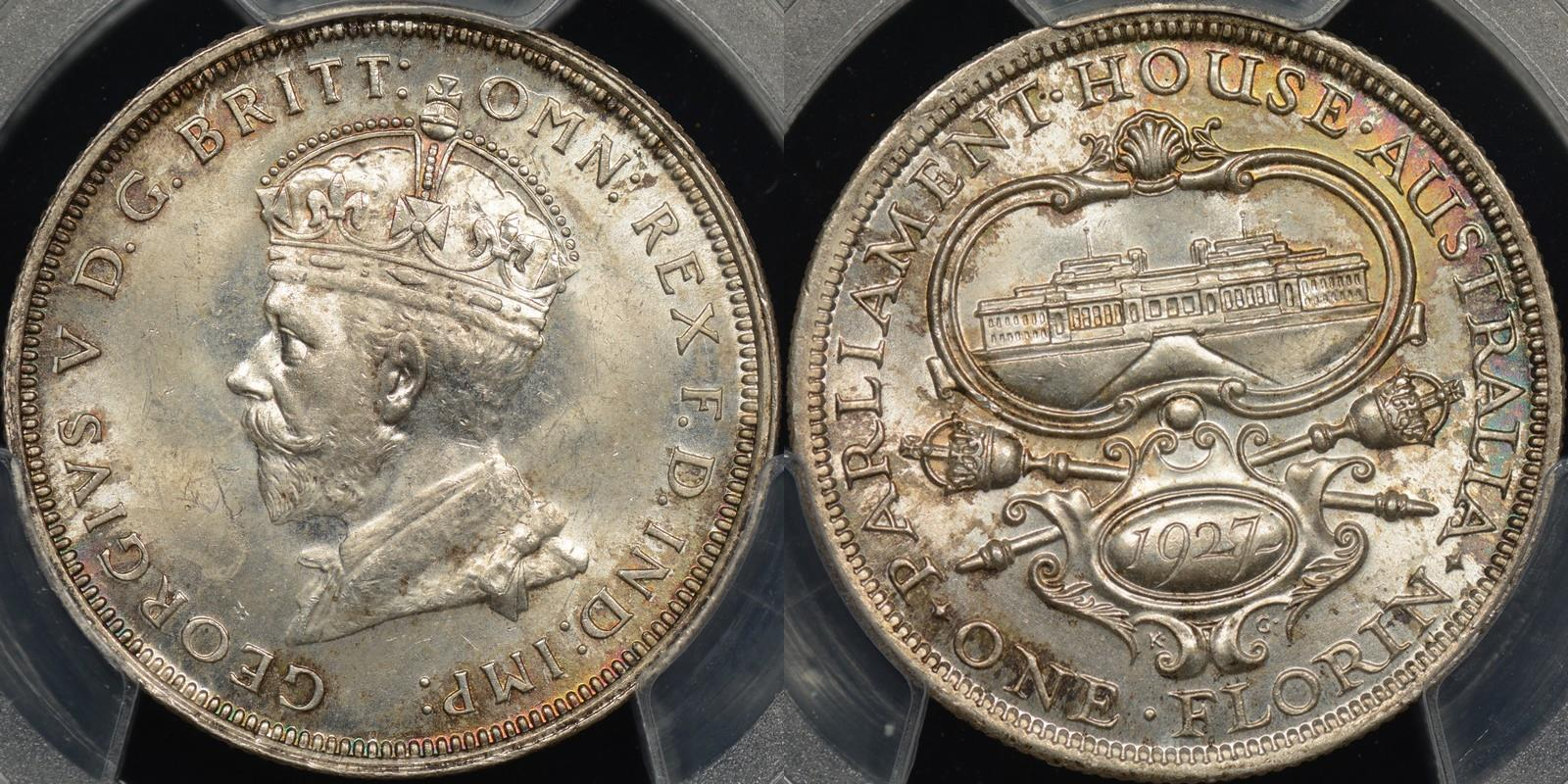 Australia 1927 parliament florin Choice Uncirculated PCGS MS64[8]