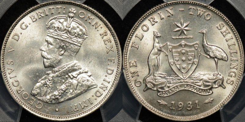 Australia 1931m florin 2s Choice Uncirculated PCGS MS64
