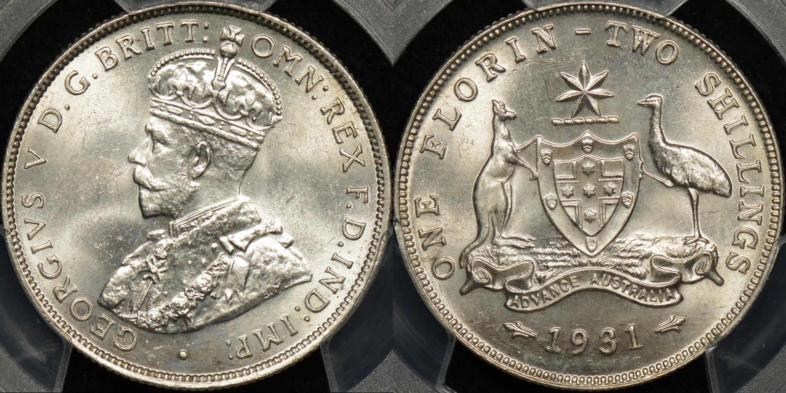 Australia 1931m florin 2s Choice Uncirculated PCGS MS64