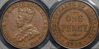 Australia 1933 2 overdate penny 1d extremely fine ef PCGS au55