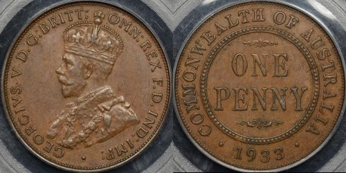 Australia 1933 2 overdate penny 1d extremely fine ef PCGS au55