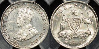 Australia 1934m threepence 3d Choice Uncirculated PCGS MS64