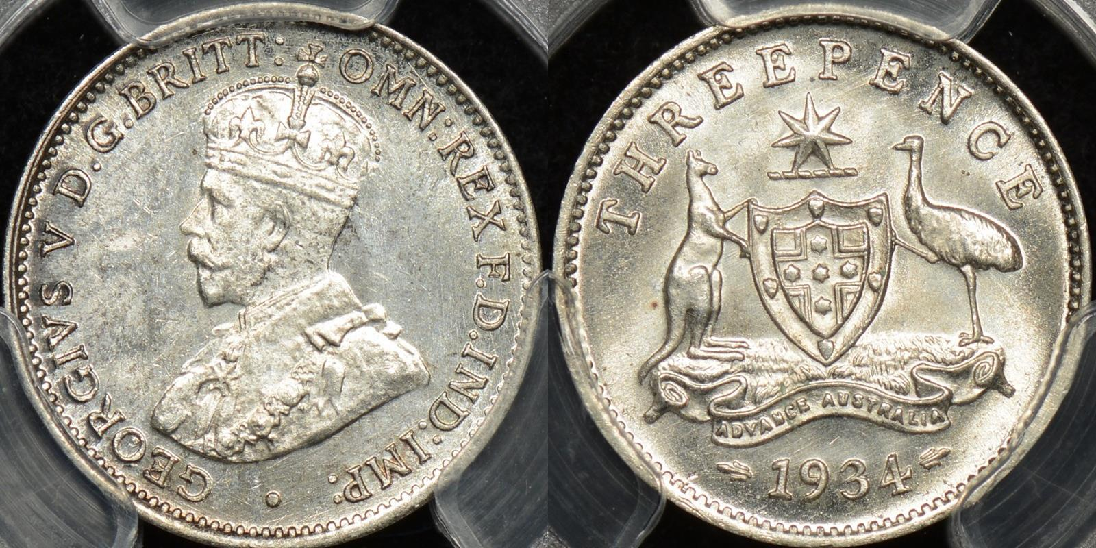 Australia 1934m threepence 3d Choice Uncirculated PCGS MS64