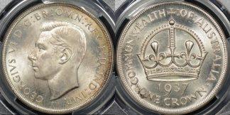 Australia 1937 crown 5s Choice Uncirculated PCGS MS64