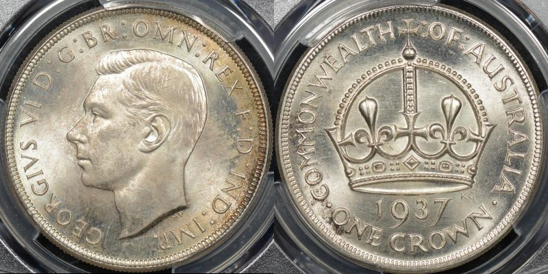 Australia 1937 crown 5s Choice Uncirculated PCGS MS64