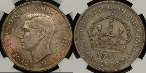Australia 1937 crown 5s Uncirculated NGC MS63
