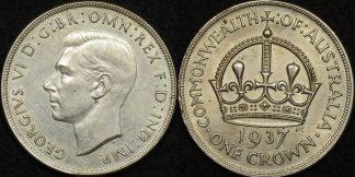 Australia 1937 crown 5s with descriptive card in saflip