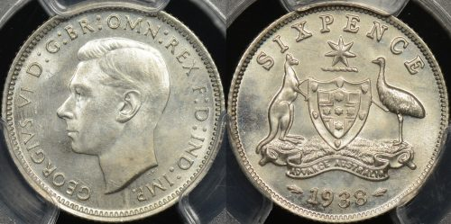 Australia 1938 6d PCGS MS66