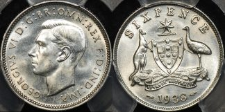 Australia 1938 sixpence 6d Choice Uncirculated PCGS MS64