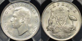 Australia 1938 sixpence 6d GEM Uncirculated PCGS MS65