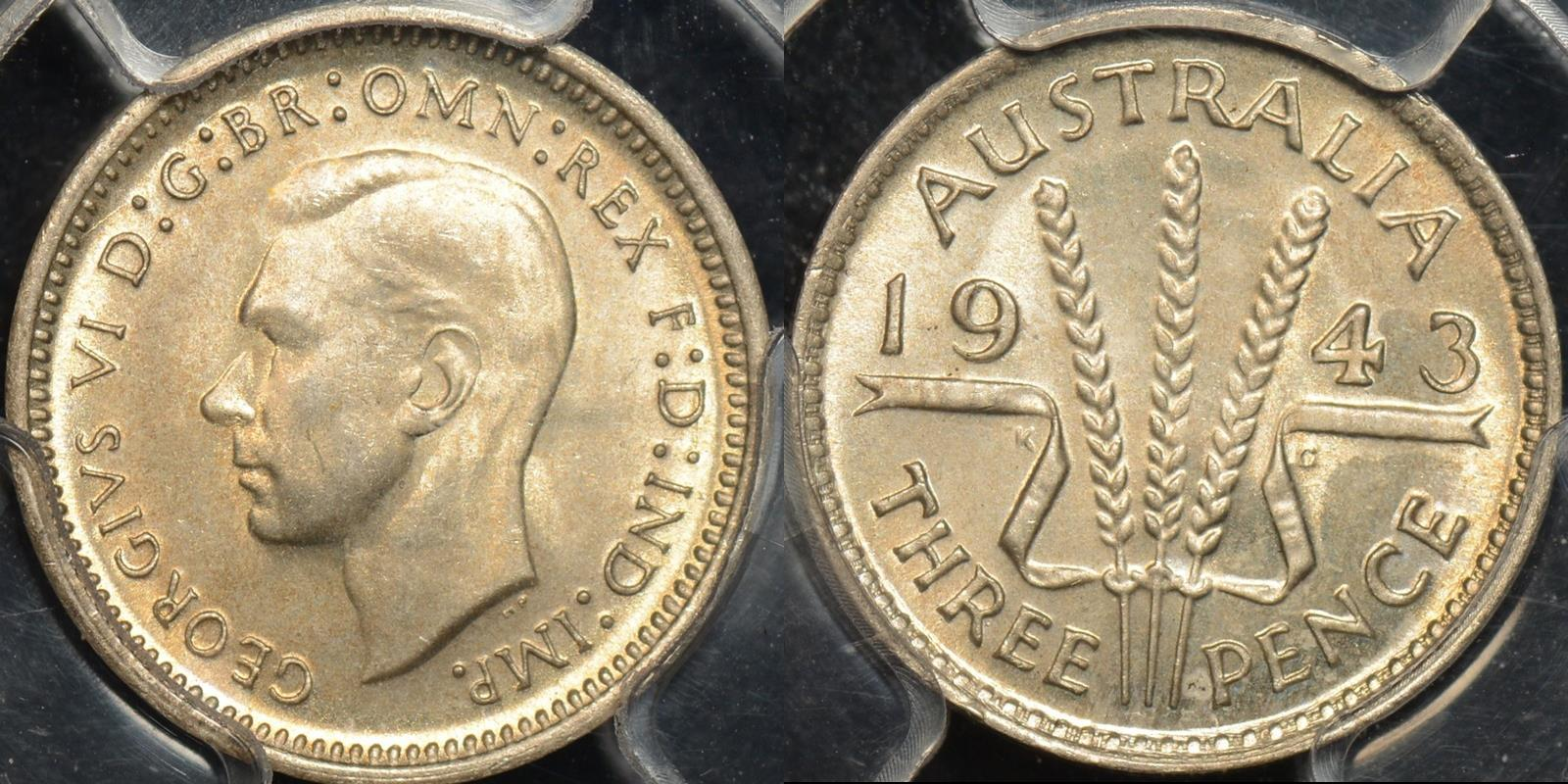 Australia 1943m threepence 3d Choice Uncirculated PCGS MS64