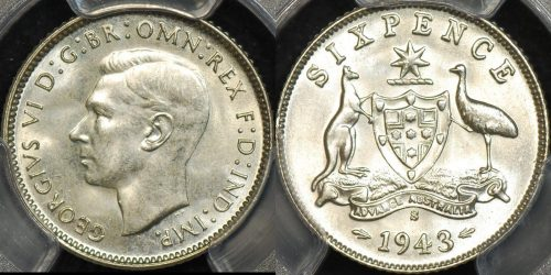 Australia 1943s sixpence 6d Uncirculated PCGS MS63