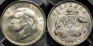 Australia 1945m sixpence 6d GEM Uncirculated PCGS MS65