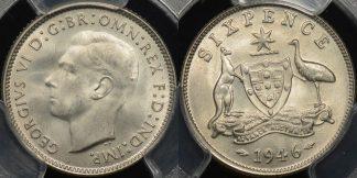 Australia 1946m sixpence 6d Choice Uncirculated PCGS MS64