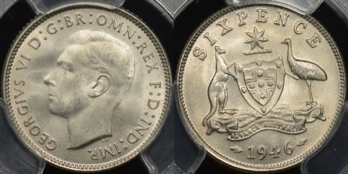 Australia 1946m sixpence 6d Choice Uncirculated PCGS MS64