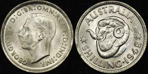 Australia 1948 shilling 1s Uncirculated ex roll