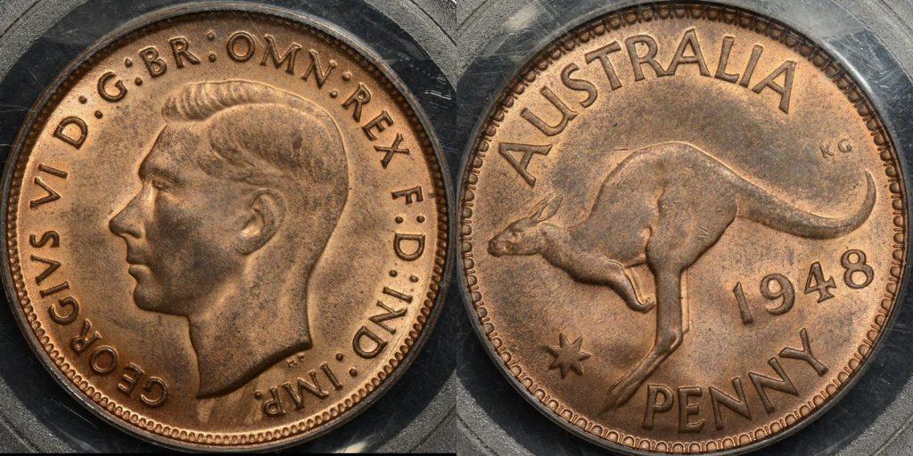 Australia 1948m penny 1d Choice Uncirculated PCGS MS64rb
