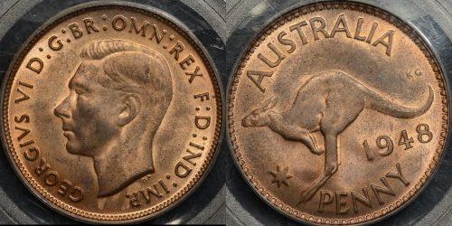Australia 1948m penny 1d Choice Uncirculated PCGS MS64rb