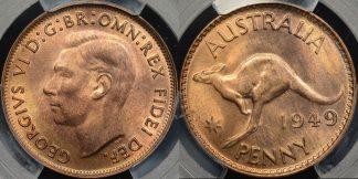 Australia 1949m penny 1d GEM Uncirculated PCGS MS65rb