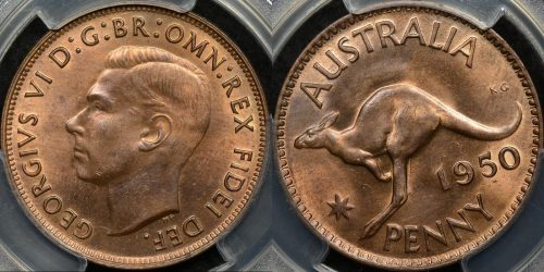 Australia 1950 m penny 1d Choice Uncirculated PCGS MS64rb