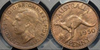 Australia 1950m penny 1d Choice Uncirculated PCGS MS64rb