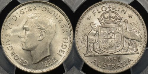 Australia 1951 florin 2s Uncirculated PCGS MS63